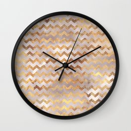 Elegant chic faux gold chevron marble pattern Wall Clock
