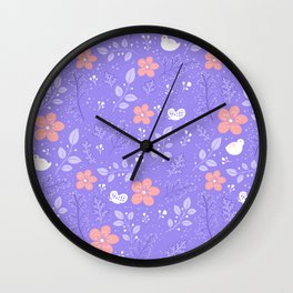 Cute bird and flower pattern Wall Clock