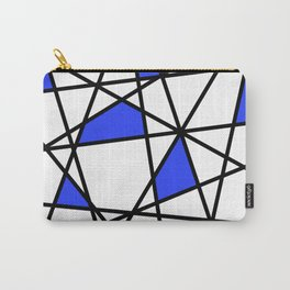 Geometric Modern triangles - white blue Carry-All Pouch