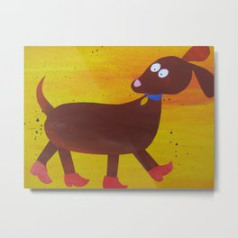Dog in clogs -  animal rhymes - made from recycled math bk drafts Metal Print
