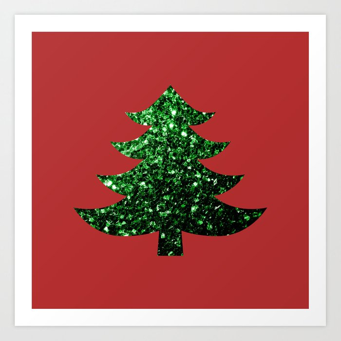 Sparkly Christmas tree green sparkles on red Art Print