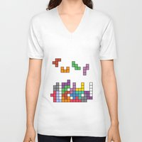 tetris V-neck T-shirts featuring Tetris by Adayan
