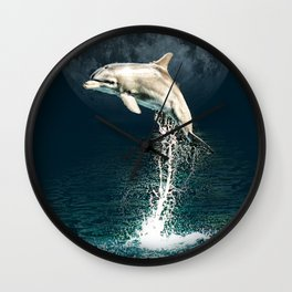 Dolphin Leaping From the Ocean to the Moon Wall Clock