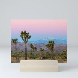 Sunrise Joshua Tree Desert Vibes (Blue and pink) Mini Art Print