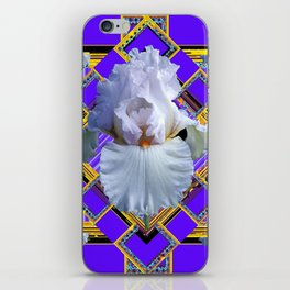ART DECO WHITE IRIS PURPLE ART iPhone Skin