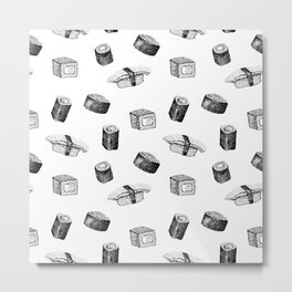 Sushi pattern. Hand-drawn japanese food sushi and rolls on a white background Metal Print