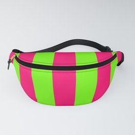 Bright Neon Green and Pink Vertical Cabana Tent Stripes Fanny Pack