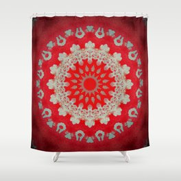 Bright Red Mandala Shower Curtain