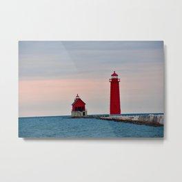 Red Lighthouse on Lake Michigan Metal Print