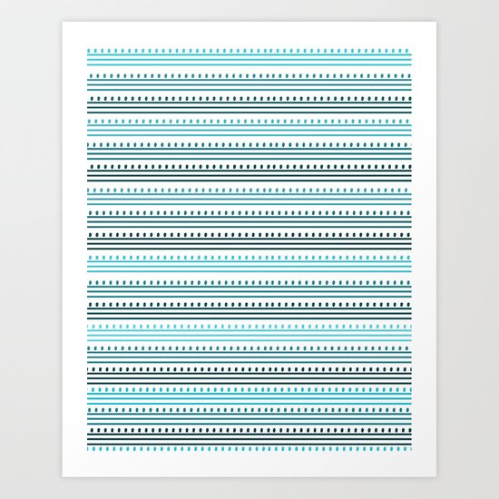 Aqua Lines and Dots Art Print