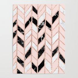 Rose gold glitter chevron herringbone black white marble pattern Poster