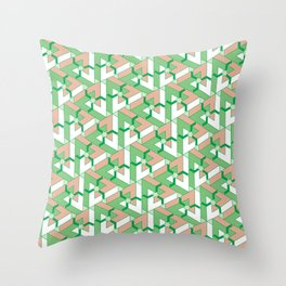 Triangle Optical Illusion Green Dark Throw Pillow