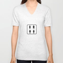 gender neutral restroom sign Unisex V-Neck