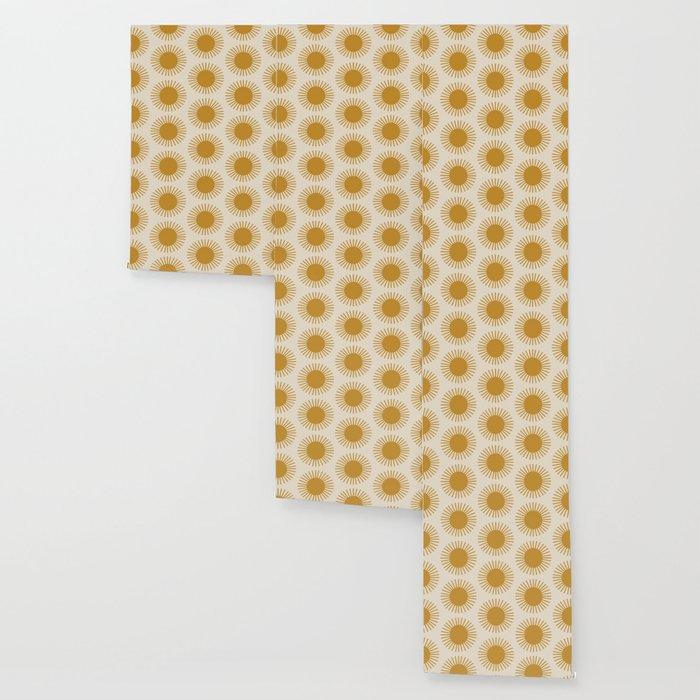 Golden Sun Pattern Wallpaper