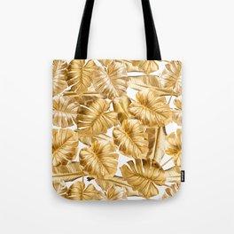 Gold Leaves Aloha Tropical Foliage Pattern Tote Bag