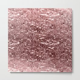 Rose Gold Pink Liquid Metallic Chrome Metal Metal Print