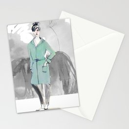 Woman in Green Coat Stationery Cards