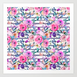 Pink mauve lilac hand painted watercolor roses floral stripes Art Print