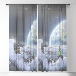 Astronaut on the Moon with beer Sheer Curtain