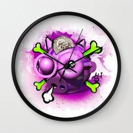 Skull Piggy Bank Wall Clock