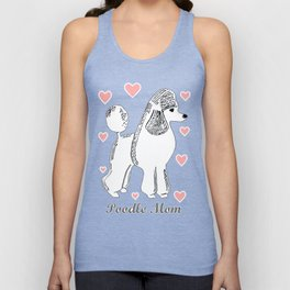 Poodle Mom in Pink and White Unisex Tank Top