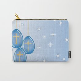 Shiny blue hanging eggs decorated with gold crosses Carry-All Pouch