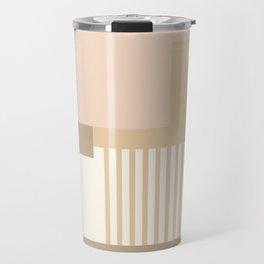 Sol Abstract Geometric Print in Tan Travel Mug