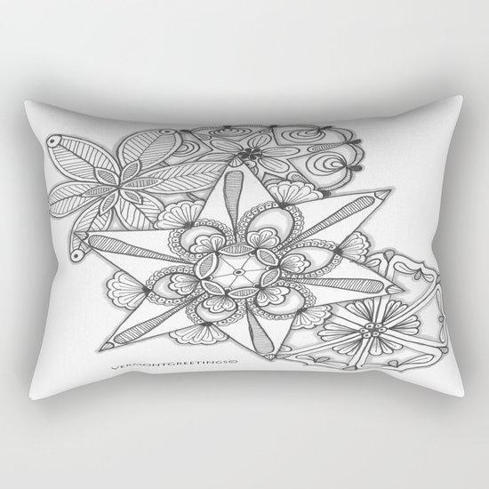 Vermont Zentangle Snow Flakes Illustration Rectangular Pillow
