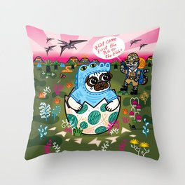 What Came First The Pug Or The Egg? Throw Pillow