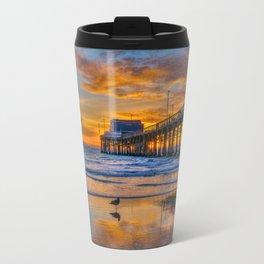 Low Tide Sunset Seagull at Newport Pier Travel Mug