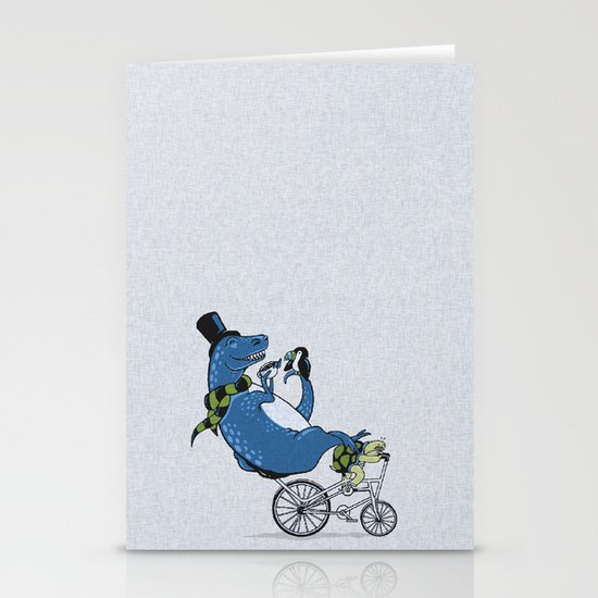Tandem T-Rex Tastes Tea with Tucan, as Turtle Toils Stationery Cards