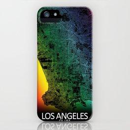 Los Angeles USA Rainbow City Map iPhone Case