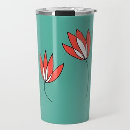 Whimsical Red and Teal Flowers by Emma Freeman Designs Travel Mug