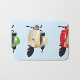 Three Vespa scooters in the colors of the Italian flag Bath Mat
