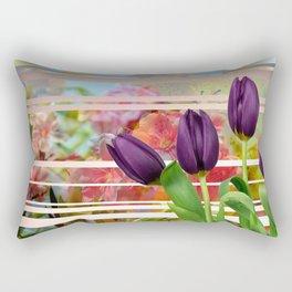 Flower Garden & Purple Tulips Stripes Collage Rectangular Pillow