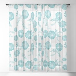 Peony Pattern Island Paradise Sheer Curtain