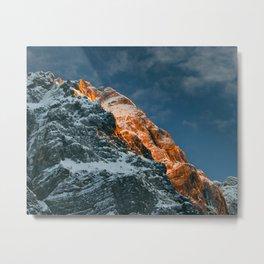 Glowing mountain at sunset Metal Print