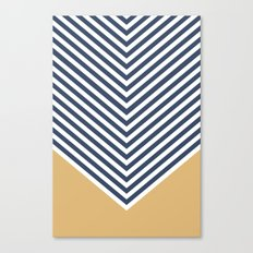 Gold & Navy Chevron Canvas Print