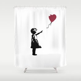Girl With Red Balloon, Banksy, Streetart Street Art, Grafitti, Artwork, Design For Men, Women, Kids Shower Curtain