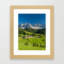 Santa Maddalena village in front of the Geisler or Odle Dolomites Group , Val di Funes, Italy Framed Art Print