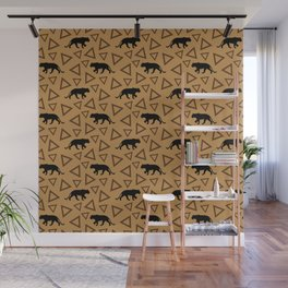 Wild African walking lioness silhouettes and abstract triangle shapes. Stylish classy warm brown latte color seamless retro vintage geometric animal nature pattern. Wall Mural