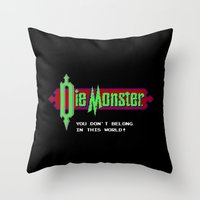 castlevania Throw Pillows featuring Castlevania - Die Monster. You Don't Belong In This World! by Aaron Campbell