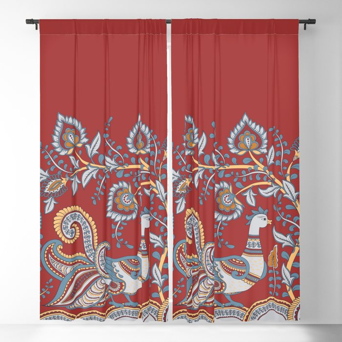 Border With Birds And Flowers Indian Style Blackout Curtain By Irinaskaska