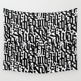 typography pattern 4 - seamless   calligraphy design - black and white Wall Tapestry