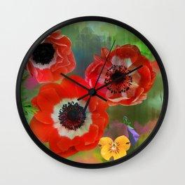 Red anemones in a summer garden Wall Clock