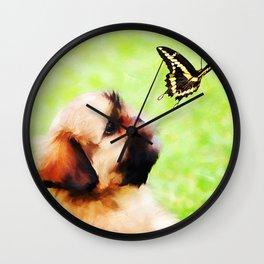 Watching Butterflies Wall Clock