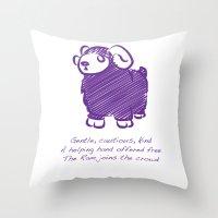 ram Throw Pillows featuring Ram by Gothic Panda