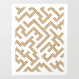 White and Tan Brown Diagonal Labyrinth Art Print