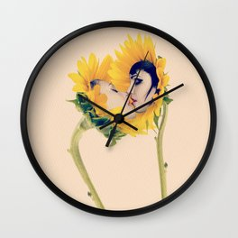 Quiverish Sunflower Kiss - Erotic Collage Art Wall Clock