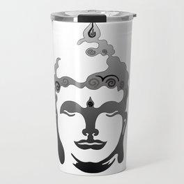 Buddha Head grey black white background Travel Mug